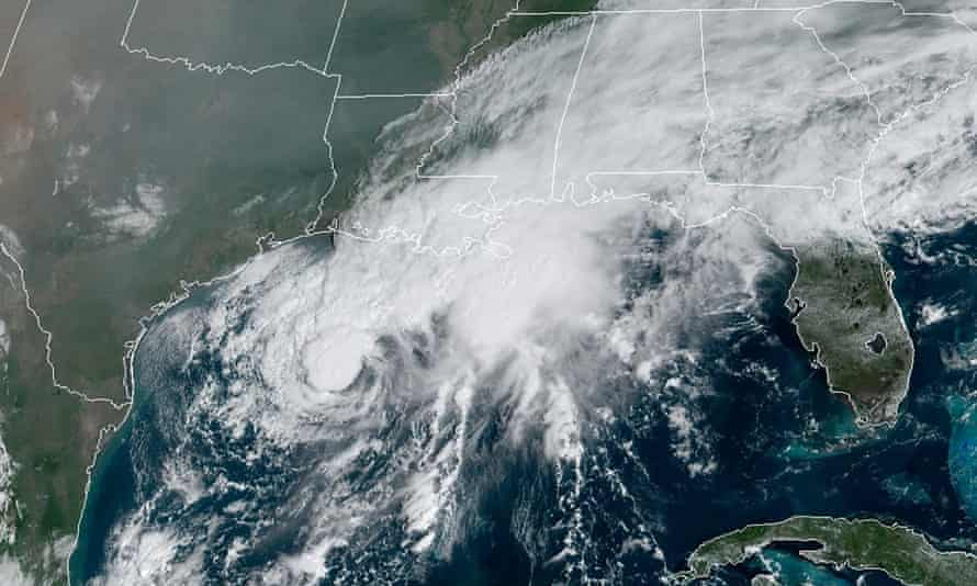 A satellite image taken on Saturday shows tropical storm Beta, center, in the Gulf of Mexico.
