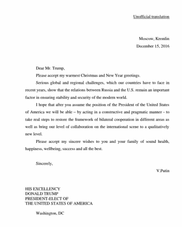 A letter, purportedly from Vladimir Putin, released by the Trump campaign.