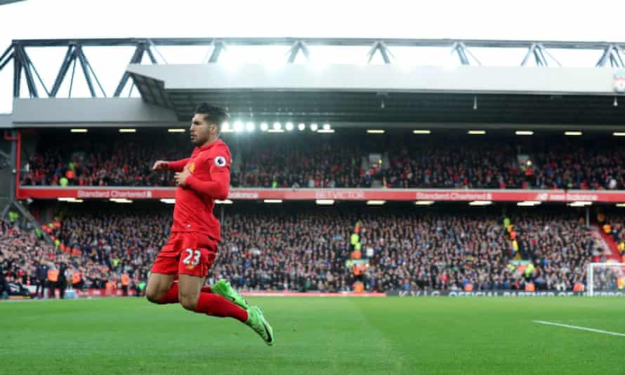 Liverpool's Emre Can celebrates scoring in the Premier League match against Burnley
