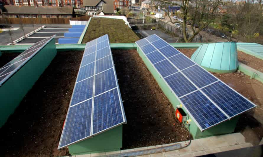 Solar panels on the roof of a school building in Liverpool.
