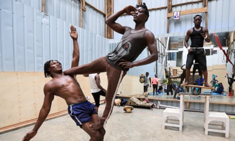 Kenyan acrobatic troupe trains for post-Covid shows –in pictures