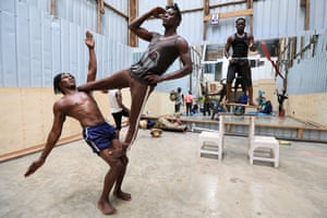 More acrobatic training routine at the academy