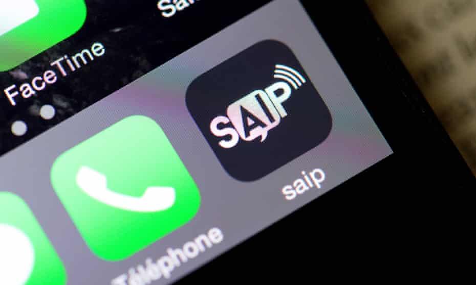 A smartphone with the Saip app.