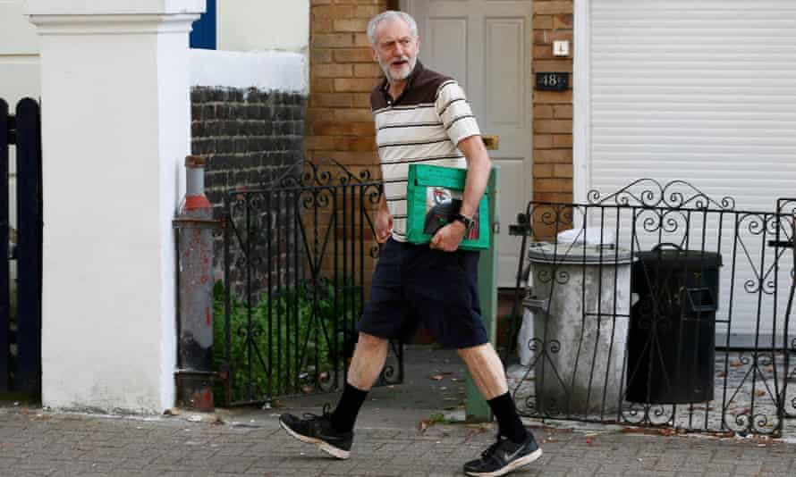 Jeremy Corbyn near his north London home. 'Are we about to usher in a new era of a more authentic and courageous politics?'