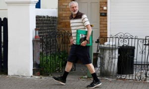 Jeremy Corbyn leaves his home in north London earlier today.