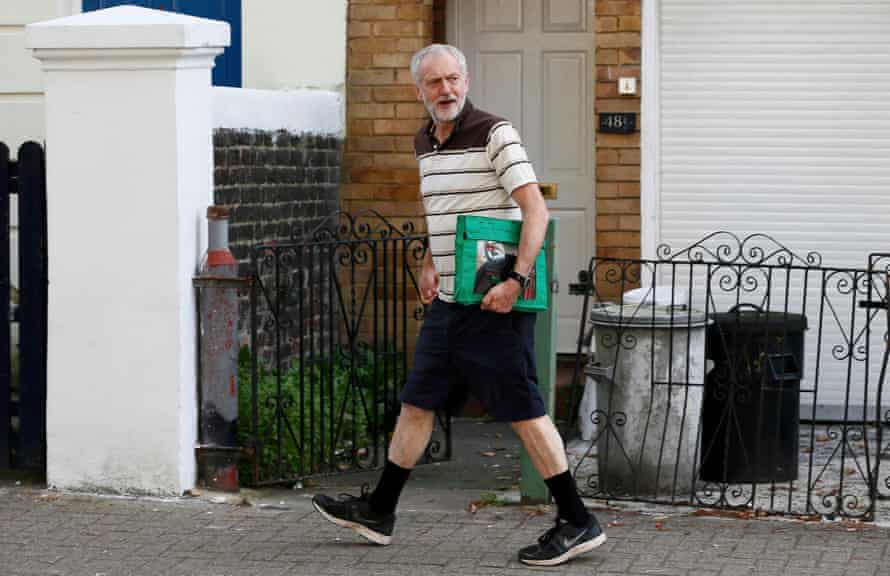 Jeremy Corbyn leaves his home in north London.