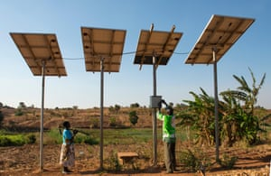 Solar powered water pump in Zingiziwa village, Malawi