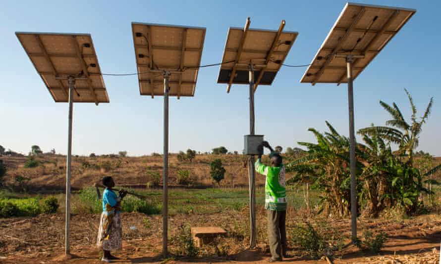 Solar powered water pump in Malawi