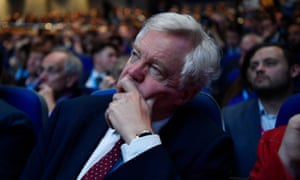 David Davis at the Conservative conference watching a speech by Boris Johnson.