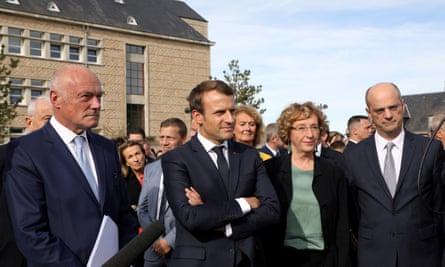 Emmanuel Macron during a visit to Égletons