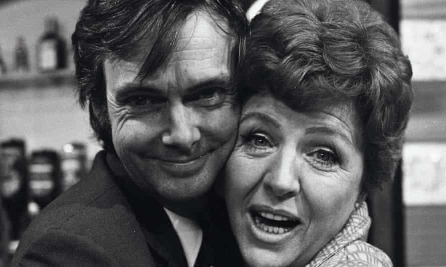 Reg Watson with the actor Noele Gordon on the set of Crossroads, 1970.