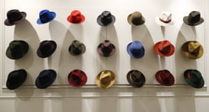 Hats are shown in a Borsalino store in downtown Milan, Italy