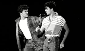 George Michael and Andrew Ridgeley of Wham! perform in Solid Gold , their first American TV appearance, in 1982