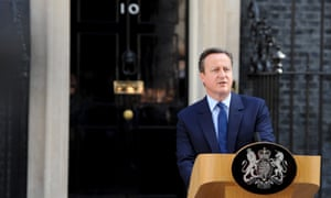 David Cameron announces his resignation at No. 10 Downing street after the UK voted by 52% to 48% to leave the European Union in a referendum