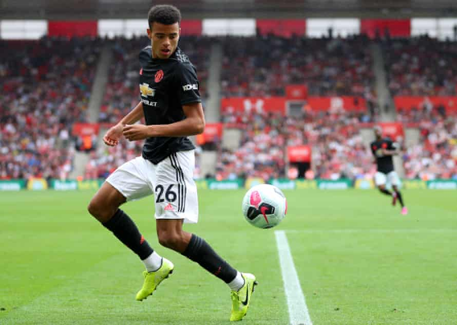 Mason Greenwood in action for Manchester United against Southampton in the Premier League.