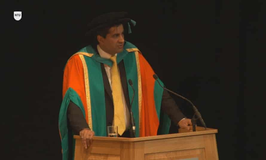 Ranjit Singh Boparan collecting his honorary degree as he was praised for food safety.