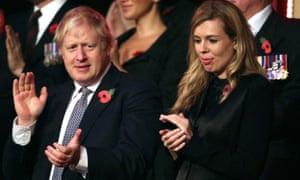 Prime minister Boris Johnson and his partner Carrie Symonds at the annual Royal British Legion festival of remembrance at the Royal Albert Hall in London.