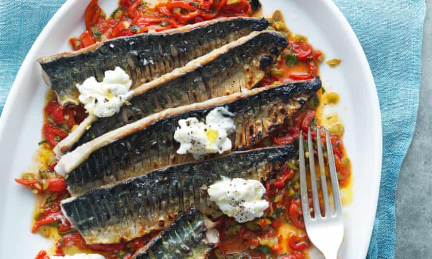 Chargrilled mackerel with sherry, piquillo peppers, cornichons and ricotta.