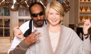 Snoop Dogg with Martha Stewart on their cookery show.