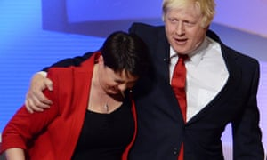 Ruth Davidson and Boris Johnson on stage at the Wembly Arena