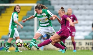 Yeovil Town's Ann-Marie Heatherson, left, challenges Manchester City striker Georgia Stanway in a recent WSL game. Yeovil's future in the top-tier has been thrown into doubt by the FA's plans