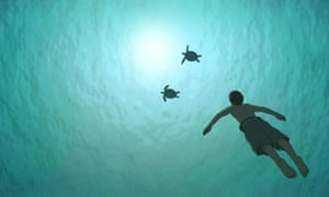 A still from the 2016 French-Japanese animated film The Red Turtle