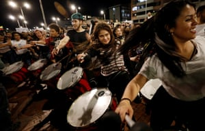 Group of protesters playing drums in Bogotá, Colombia