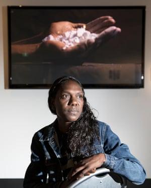 Patrina Liyadurrkitj Mununggurr, winner of the multimedia award, with her work Dhunupa'kum nhuna wanda (Straightening your mind).