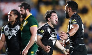 Brandon Smith of New Zealand celebrates after scoring a try against Australia at Mt Smart stadium in Auckland.