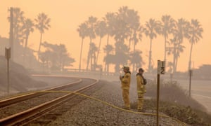 Firefighters in Ventura, California, an oceanside city in southern California where the wildfires hit hardest.