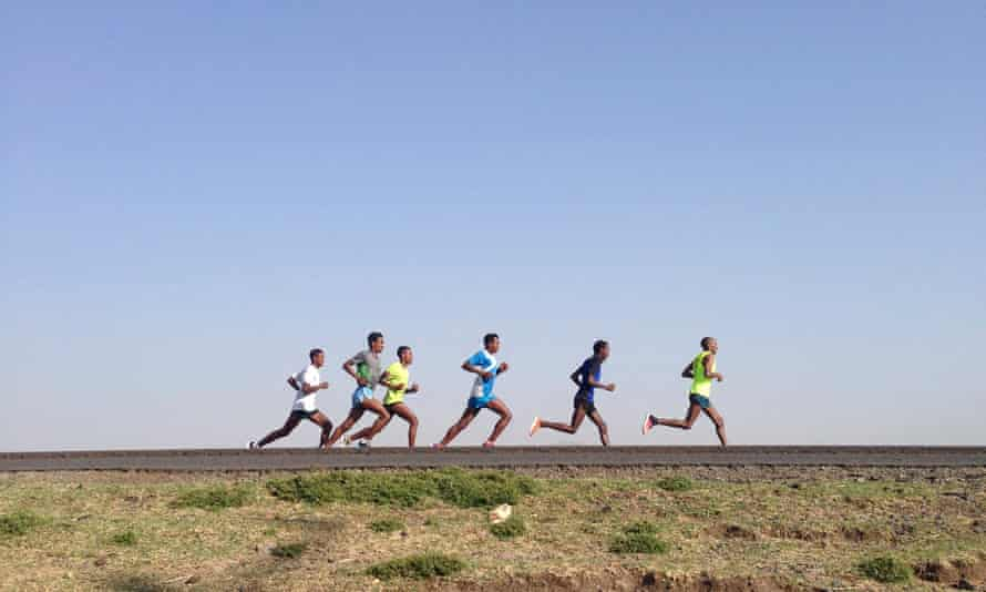Ethiopian runners training together
