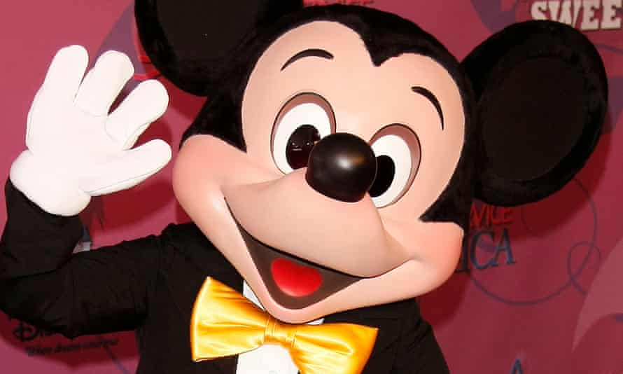 Mickey Mouse poses at Disneyland in California.