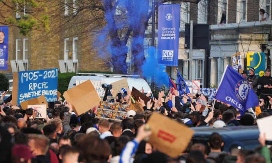 Chelsea fans protest outside Stamford Bridge before the game with Brighton
