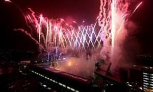 West Ham fireworks after the last game at Upton Park