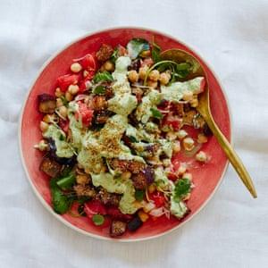 Thomasina Miers' roast aubergine salad with green tahini and chickpeas.