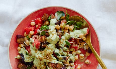 Thomasina Miers' roast aubergine salad with chickpeas and green tahini sauce