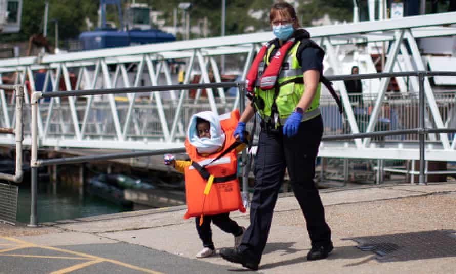 A child arrives in Dover after being picked up in the Channel.