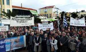A demonstration in Mytilene on the island of Lesbos.