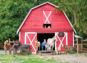 A child hugs a dog as animals pose around a barn