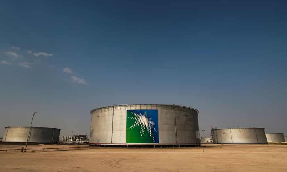 Aramco oil tanks in the desert