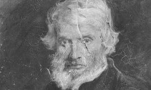 A photograph of damage done by Anne Hunt to the portrait of Thomas Carlyle by Sir John Everett Millais.