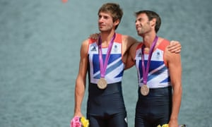 Mark Hunter and Zac Purchase  with their silver medals on the podium at London 2012.