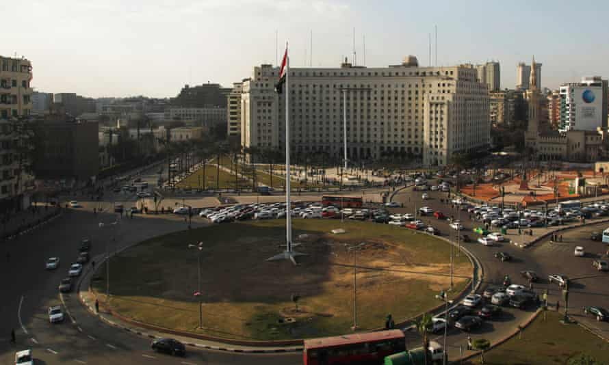 The circular patch of land in Cairo's central Tahrir Square – the centre of the 2011 popular uprising – has been landscaped.