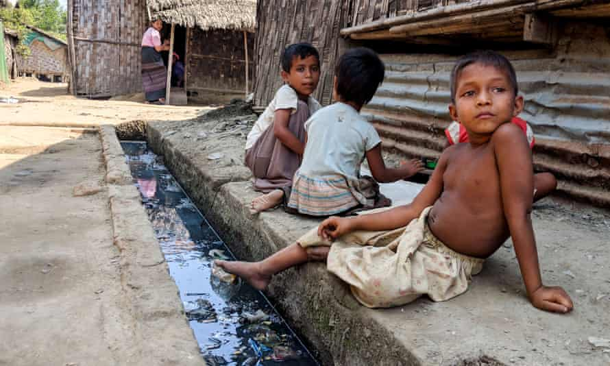 Rohingya children at a camp in the west of Myanmar