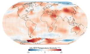2017 was the warmest July in 137 years of modern record-keeping, at about 0.83C warmer than the mean July temperature of the 1951-1980 period