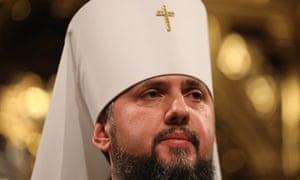 Metropolitan Epifaniy at the St Sophia cathedral in Kiev, Ukraine.