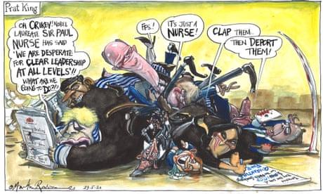 Martin Rowson on Boris Johnson's U-turn on the NHS surcharge — cartoon