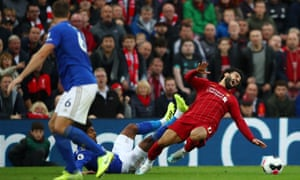 Mohamed Salah's ankle was injured on 5 October in this challenge from Leicester's Hamza Choudhury.