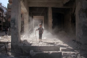Damascus, SyriaA Syrian boy stands amidst the rubble of a building in the rebel-held town of Douma, on the eastern outskirts of Damascus