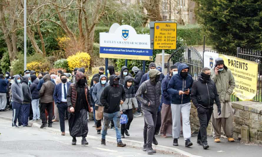 Protesters outside Batley grammar school in West Yorkshire in March.